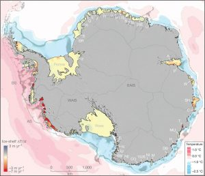 A map of Antarctica showing major glaciers and all ice shelves coloured to indicate the rate of change of thickness. Sea temperature is also indicated by a colour scale.