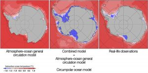 Computer-generated images of subsurface ocean temperature in Antarctica from three different sources. The atmosphere–ocean general circulation model shows coarse data representation. The observation data is better resolved but does not show under ice shelves. The combined model shows high resolution of temperature in ice shelf cavities.